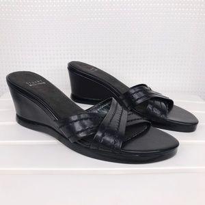 Stuart Weitzman Black Wedge Sandals Heels 8.5